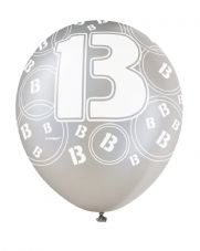 13th Birthday Black Glitz Latex Balloons 12 inch